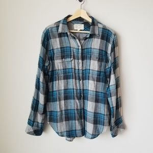 Current Elliott Perfect Shirt Plaid Blue Gray 6/8